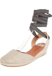 Scarpin Dafiti Shoes Anabela Baixa Bege