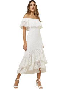 Vestido Mx Fashion De Renda Ombro A Ombro Aisha Off White
