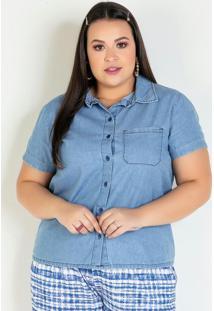 Camisa Jeans Clara Com Bordado Plus Size