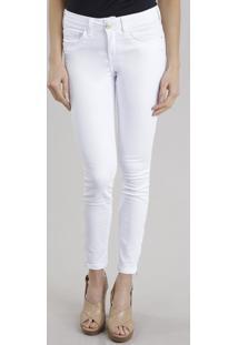 Calça Super Skinny Com Algodão + Sustentável Branca