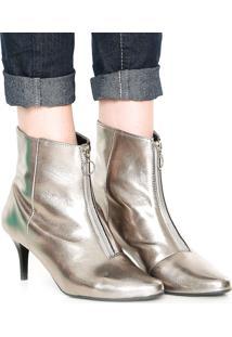 Bota Dafiti Shoes Zíper Prata Velha
