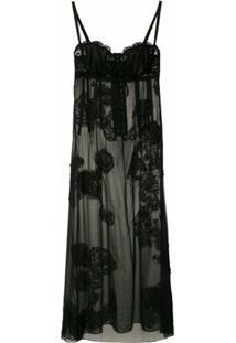 Dolce & Gabbana Vestido Transparência Com Renda - Preto
