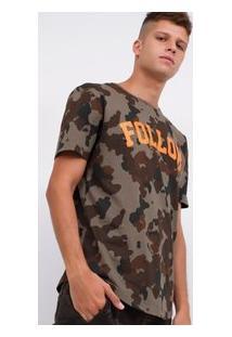 Camiseta Camuflada Com Estampa