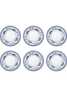 Conjunto De Sousplat Com 6 Peças Baptista Branco E Azul 33 Cm
