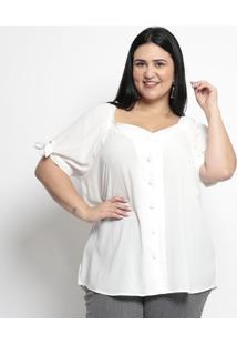 Camisa Lisa Com Elã¡Stico- Branca- Pianetapianeta