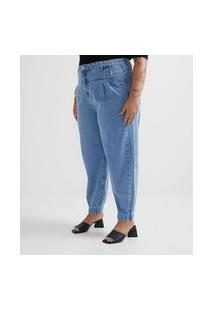 Calça Baggy Jeans Com Punho Na Barra Curve & Plus Size