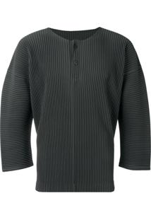 Homme Plissé Issey Miyake Blusa Cropped - Cinza