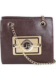 Bolsa Couro Jorge Bischoff Mini Bag Snake Basic Feminina - Feminino-Marrom Escuro