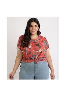 Blusa Feminina Plus Size Estampada Floral Manga Curta Decote Redondo Cobre