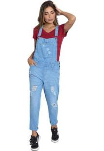 Macacão Le Julie Jardineira Jeans Feminino - Feminino-Azul