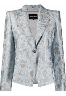 Giorgio Armani Blazer Com Abotoamento Simples E Estampa Floral - Azul
