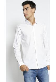 Camisa Super Slim Fit Geomã©Trica- Branca & Vermelha-Forum
