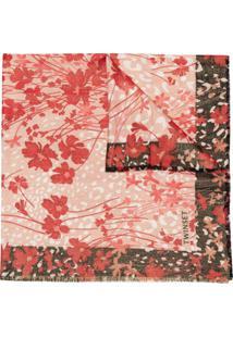 Twinset Cachecol Com Estampa Floral E Fios Metálicos - Vermelho