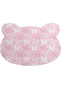 Tapete Pet Mdecore Urso Borboleta Rosa 54X39Cm