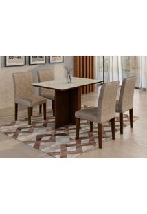 Conjunto De Mesa De Jantar Com Vidro E 4 Cadeiras Ane I Suede Amassado E Chocolate