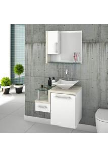 Gabinete Para Banheiro 1 Porta 1 Gaveta 1 Cuba Folha Lux E Espelheira Legno 630W Siena Móveis Branco C/Snow