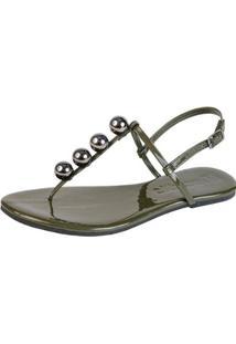Rasteira Mercedita Shoes Verniz Fivela Feminina - Feminino-Verde