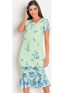 Vestido Floral Verde Barrado Moda Evangélica