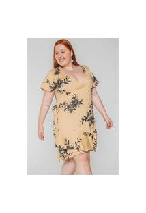 Kaue Plus Size Vestido Transpassado Floral Plus Size Bege Vestido Transpassado Floral Plus Size Bege M