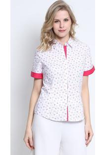 Camisa Floral- Branca & Pink- Intensintens
