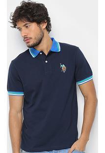 Camisa Polo U.S. Polo Assn Lisa Diferenciada Masculina - Masculino-Azul Navy