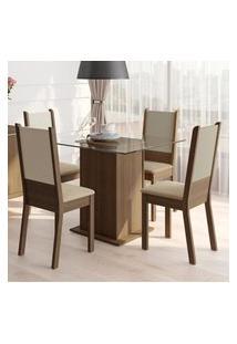 Conjunto Sala De Jantar Isis Madesa Mesa Tampo De Vidro Com 4 Cadeiras Marrom