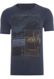 Camiseta Masculina Praia Quadrados - Preto