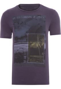 Camiseta Masculina Praia Quadrados - Roxo