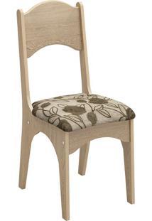 Cadeira Ca18 Chenille Floral Escuro Carvalho