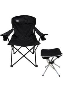 Cadeira Dobrável Pandera Com 2 Porta Copos + Banqueta Dobrável Stool Nautika - Unissex