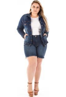 Jaqueta Jeans Feminina Tradicional Com Bolso Plus Size
