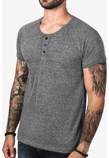 Camiseta Henley Cinza 103085