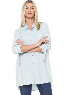 Camisa Morena Rosa Reta Listrada Azul