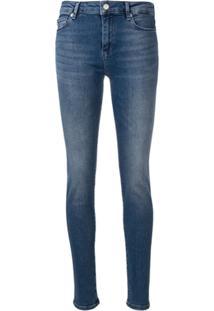 Love Moschino Calça Jeans Skinny Com Logo - Azul