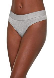 Calcinha Calvin Klein Underwear Fio Dental Lettering Cinza