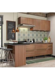 Cozinha Compacta 7 Portas 4 Gavetas 5455 Nogueira/Malt - Multimóveis