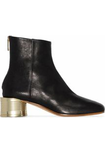 Mm6 Maison Margiela Ankle Boot De Couro Com Salto 50Mm - Preto