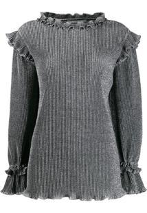 Alberta Ferretti Metallic Knit Ruffled Sweater - Cinza