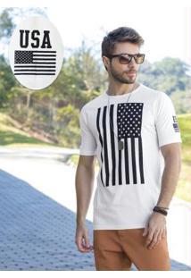 Camiseta Branca Com Estampa Bandeira Usa