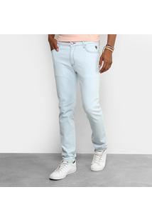 Calça Jeans Reta Cavalera Super Delave Masculina - Masculino-Azul