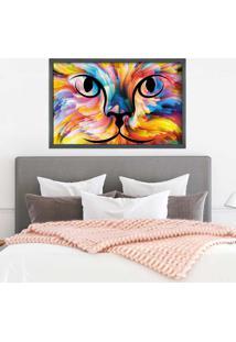 Quadro Love Decor Com Moldura Color Cat Grafitti Metalizado - Médio