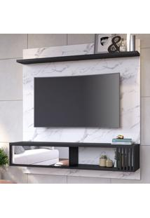 Painel Para Tv Até 55 Polegadas Ilheus 1 Porta Calacatta/Preto Fosco - Colibri Móveis