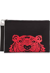 Kenzo Tiger'S Head Print Clutch - Preto
