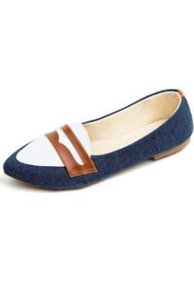 Sapatilha Jeans Com Branco Megachic - Azul - Feminino - Dafiti