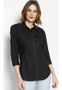 Camisa Lisa Com Bordado- Preta- Dbz Jeansdbz Jeans