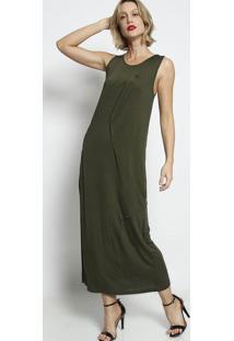 Vestido Longo Liso- Verde Militar- Forumforum
