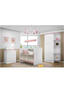 Quarto De Bebê Completo Doce Sonho Qmovi 3 Peças - Berço, Cômoda E Roupeiro Branco Rosa