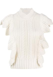 Zadig&Voltaire Lila Ruffle-Trimmed Knitted Top - Neutro