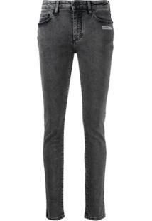 Off-White Calça Jeans Skinny Com Estampa De Logo - Preto