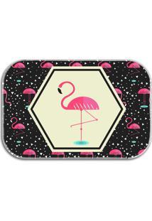 Tapete Decorativo Lar Doce Lar Flamingos 40Cm X 60Cm Preto